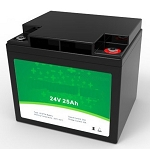 640 Watts 24V 25Ah <br> EV LiFePO4 Lithium Battery Pack <br> 7.7*6.5*6.9 in <br> 197*165*175mm <br> 15.4 Lbs. / 7.0Kg <br> Can be connected in series up to 48 volts. <br> <b> Click here for more information </b>