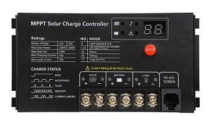 12V or 24V 10A MPPT <br> Solar Charge Controller <br> For Flooded, SLA, AGM, Gel, <br> and Lead Acid Battery Packs <br> Click here for more information